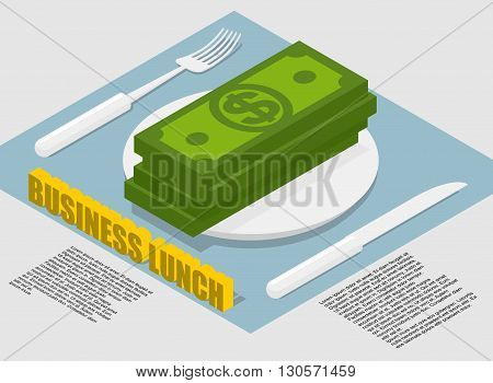 Business Lunch Infographics On Food Costs. Spending On Food Businessmen During Operation. Money Lyin