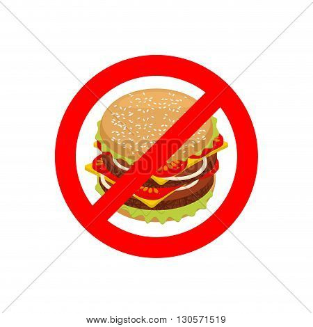 Ban Hamburger. Stop fast Food. Strikethrough Juicy Burger With Cutlets. Emblem Against Unhealthy Foo