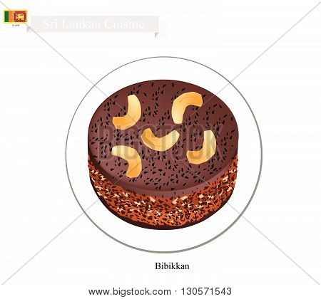 Sri Lankan Cuisine Bibikkan or Traditional Dark Moist Cake Made of Shredded Coconut Jaggery Dry Fruits and Semolina. One of The Most Popular Dessert in Sri Lanka.