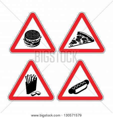Set Warning Signs Fast Food. Danger Sign. Harmful Food. It Contains Lot Of Cholesterol. Big Hamburge
