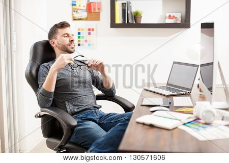 Attractive Man Taking A Break From Work
