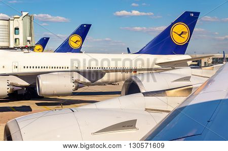 Frankfurt, Germany - February 12, 2016: Lufthansa aircrafts at Frankfurt International airport. It is the busiest airport in Germany in terms of passenger traffic