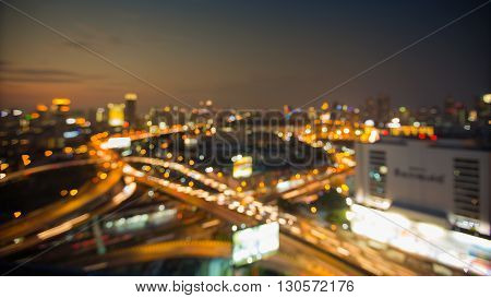 Aerial view blurred, city blurred lights night view