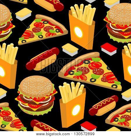 Fast Food Pattern. Hamburger And French Fries On Black Background. Pizza And Hot Dog Texture. Orname