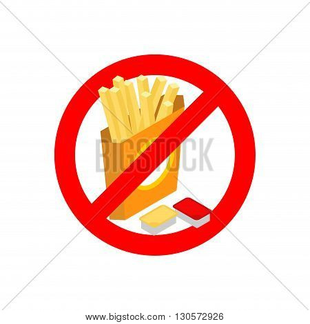 Stop french Fries. Ban Fatty Fast Food. Sliced ​​potatoes In Paper Box. Emblem Against Food. Red Pro