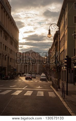 TRIESTE ITALY - MAY 01: View of Borsa square in Trieste at sunset on May 01 2016