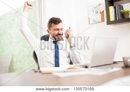 Businessman Just Got A New Client Over The Phone