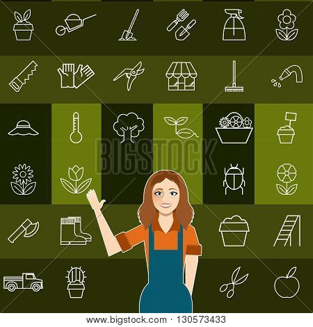 Vector image of the Set of vegetable line icons and a gardener woman