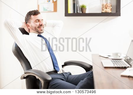Businessman Taking A Break From Work