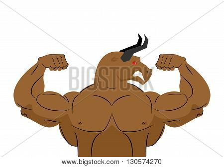 Angry Bull Strong Athlete. Aggressive Fitness Animal. Wild Animal Bodybuilder With Huge Muscles. Bod