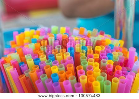Straws colorful multicolor make with plastic in drink shop at market