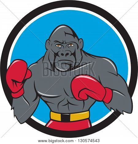 Illustration of a gorilla boxer in boxing stance viewed from front set inside circle done in cartoon style.