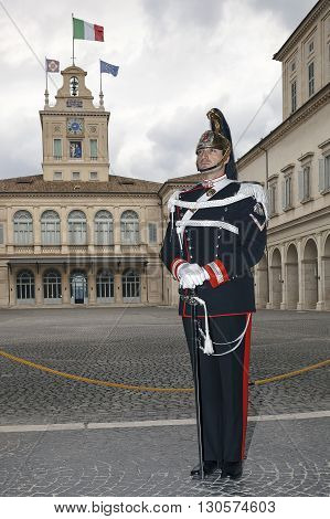 Rome Italy - May 19 2016: Cuirassier guard of honor of the President of the Italian Republic in the Quirinal Palace.
