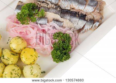 Marinated Herring With Onion And Balls Of Potato