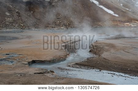 Gunnuhver Geothermal field at Reykjanes Peninsula in the island of Iceland
