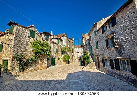 Stari Grad on Hvar i sland old paved street Dalmatia Croatia