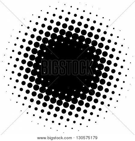 Black abstract halftone circle made of dots. Vector illustration.