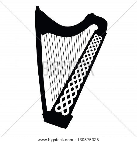 Silhouette of Celtic Harp with ornament isolated on white background. Vector Illustration