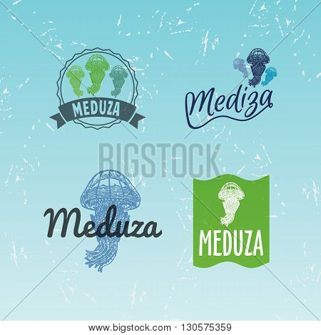 Vector colourful logo set with jellyfish. The jellyfish as main element of logotypes on blue background