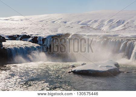 Big waterfalls in winter season, Iceland natural landscape
