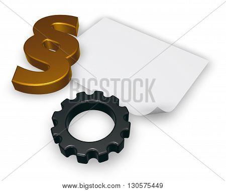 cogwheel and paragraph symbol - 3d illustration