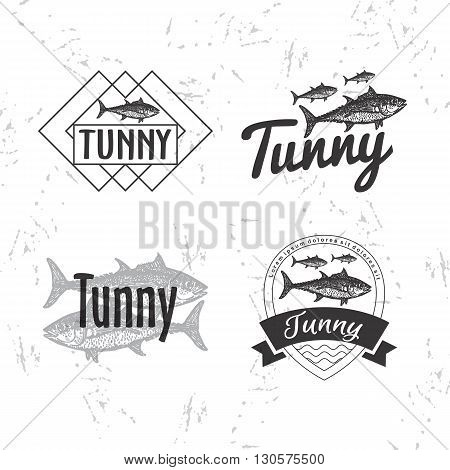 Vector black and white logo set with tuna fish. The tuna as main element of logotypes on white background