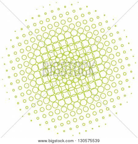 Abstract halftone circle made of small green outline of circles. Vector illustration.