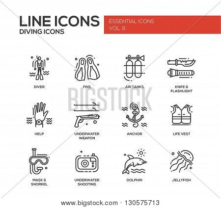 Set of modern vector simple plain line design icons and pictograms of scuba diving objects and equipment. Diver, fins, air tanks, help, weapon, life vest, jellyfish, dolphin, mask, knife, flashlight