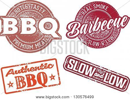 Barbecue BBQ Meat Restaurant Menu Stamps