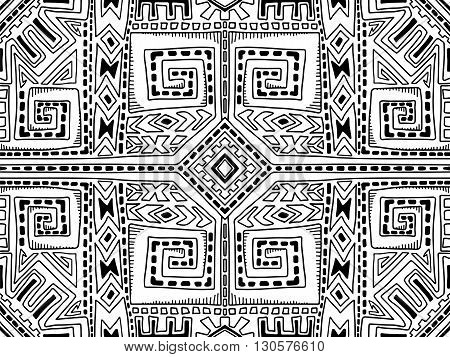 Aztec Abstract Background Maya Black And White 2