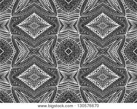 Ethnic Background Abstract Boho Black White 1