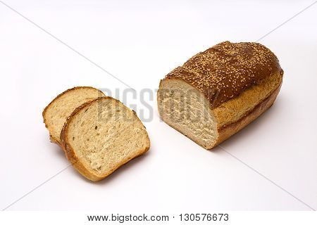 Tasty Homemade bread on isolated white background