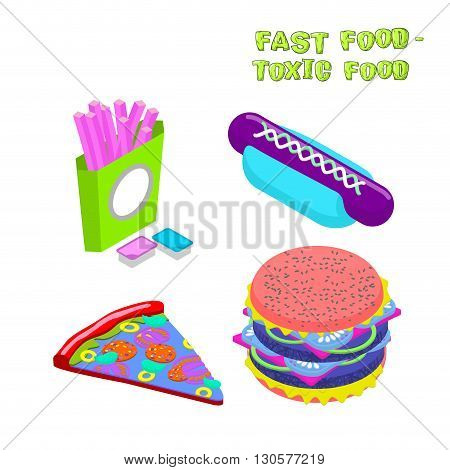 Fast Food -  Toxic Food. Illustration About Dangers Of Fast Food. Purple Potato Slices. Blue Sauce.