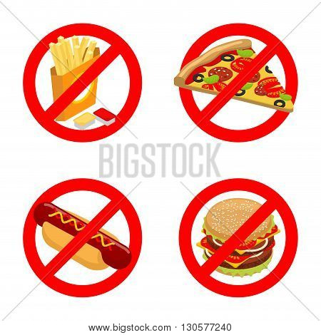 Stop Fast Food. Diet Sign. Ban Unhealthy Food. It Is Forbidden To Eat French Fries. Emblem Against P