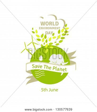 World environment day concept. Green Eco Earth. Vector illustration of earth globe, green leaves and alternative energy, background for World Environment Day.