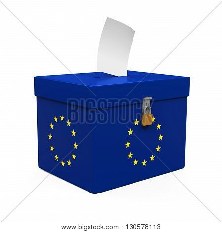 Ballot Box with European Union Flag isolated on white background. 3D render