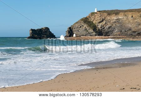 Portreath pier beach shore waves, Cornwall England.
