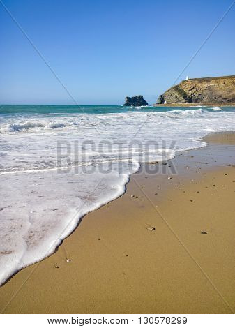 Portreath beach shore white water, Cornwall England.