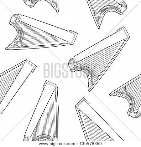 Seamless pattern with celtic harp on white background. Vector Illustration