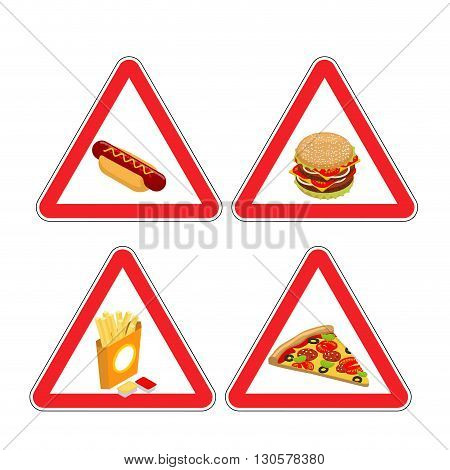 Warning Sign Of Attention Fast Food. Dangers Red Sign Hamburger. Hot Dog Bun With Sausage And Mustar
