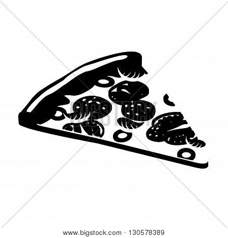 Pizza Silhouette. Piece Of  Pizza Sign Flat Style.