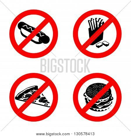 Ban Fast Food Sign. Stop Unhealthy Food. It Is Forbidden To Eat French Fries. Emblem Against Pizza.