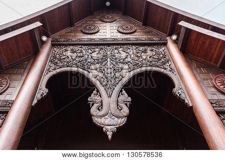 The Arch Temple Made Of Wooden Carving