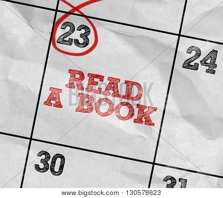 Concept image of a Calendar with the text: Read A Book