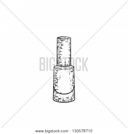 Hand drawn nail polish. Detailed sketch of icon for manicure isolated on white background. Black and white pencil or ink drawing