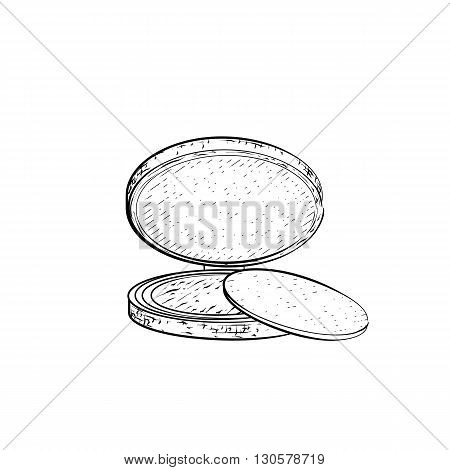 Hand drawn powder. Detailed sketch of powder or eyeshadow icon isolated on white background. Black and white pencil or ink drawing