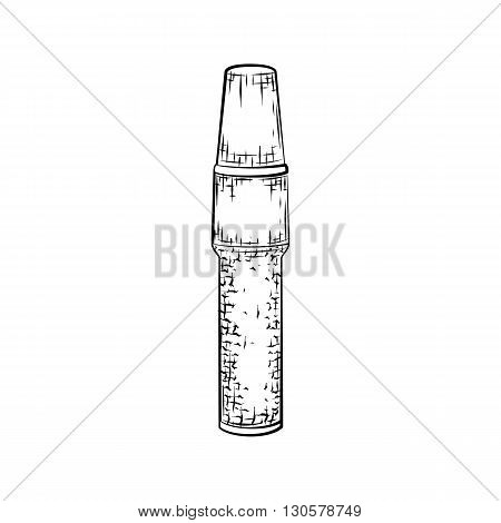 Hand drawn concealer. Detailed sketch of tube icon isolated on white background. Black and white pencil or ink drawing
