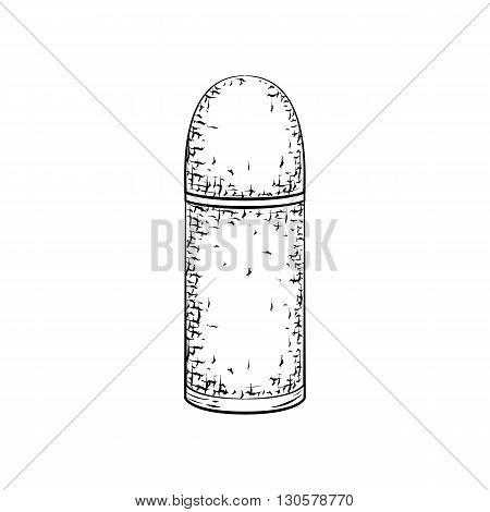 Hand drawn detailed sketch of deodorant or antiperspirant isolated on white background. Black and white pencil or ink drawing