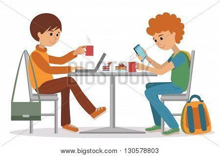 Two students friends talking friendly at coffee shop while drinking hot coffee and using laptop and smartphone, vector illustration of coffee break on white background.