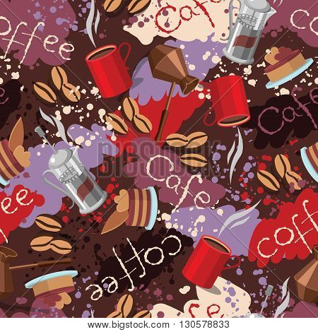 Seamless background with scattering of coffee beans spots and lettering. Seamless coffee pattern. Design for cards, wallpaper, posters, clothes. Vector illustration coffee theme.